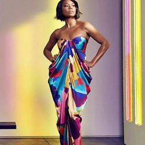 Gabrielle Union Multi-Color Strapless Dress